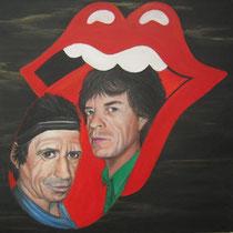 The Stones. Onverwoestbaar, Keith en Mick, rockend door het leven. Zingend en swingend altijd weer doorgaand, gedreven door de kick.  50/50 cm.    € 225