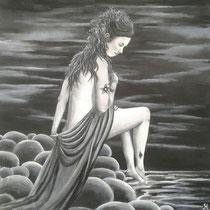 Jolanda. Verzonken in gedachten, stil en mysterieus. Pure schoonheid, vol verborgen krachten Geschilderd voor mijn oudste dochter Jolanda