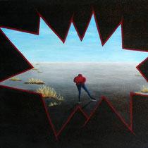 Schaatser in wak,  Eenzame schaatser, dwalend over het ijs. Denk om de wakken tijdens je reis.     40/50. € 125