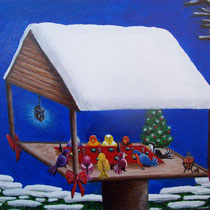 Vogeltjeskerst.  Samen kerstfeest vieren, mens of dier. Samen zijn geeft plezier. Verkocht