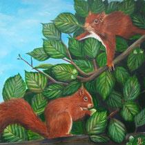 Eekhoorntjes, geschilderd in opdracht