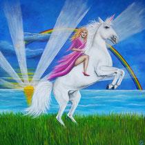 Prinses op unicorn; geschilderd voor mijn kleindochter Eva die dol is op prinsessen en unicorns