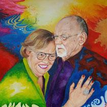 Dubbelportret geschilderd in opdracht naar de wensen en ideeën van de opdrachtgevers zelf