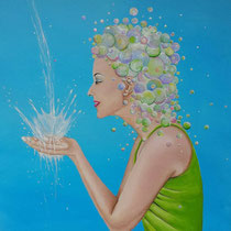 Water. Het is toch wel bijzonder, zo'n simpele dorstlesser als kleurloos water, wat door zeep en zon verandert in een kleurrijk wonder.  50/50 cm € 225