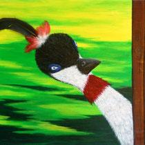 Hoezo nieuwsgierig. |Hij kan het weer niet laten ... Nieuwsgierige vogel houdt alles in de gaten.   50/50. € 225