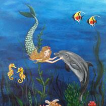 Onderwater gebeuren. Geschilderd voor mijn kleindochter Jennifer die dol is op dolfijnen en zeemeerminnen