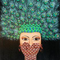 Pauwvrouw. Jezelf verstopt achter de muur, ontdek als je hem afbreekt dat je trots kunt zijn op de mens die je eigenlijk bent: Kleurrijk, vol mogelijkheden en puur.    40/50. € 125