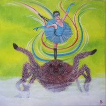 Spin . Om angst te overwinnen voor een uit het niets verschijnend dier, is er mee spelen de beste manier. 50/50 cm. € 225.