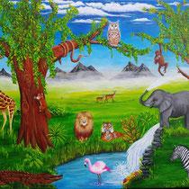De dierenwereld; geschilderd voor mijn jongste kleindochter Myrthe die dol op dieren is