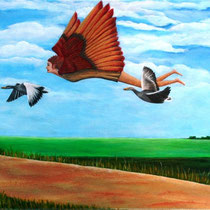 Vrij als een vogel. Hoe zou het zijn, om zo af en toe, helemaal los van aardse beslommeringen te kunnen vliegen met de vogels, zonder zorgen, verdriet of pijn.   40/50 . € 95