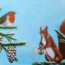 Kerst schilderij voor kerstkaart. Gezellige kerstdagen en laten we in het nieuwe jaar een lichtpuntje zijn voor elkaar. Verkocht