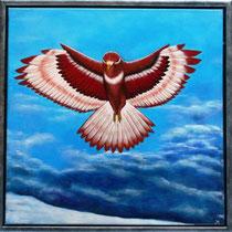 Roofvogel. Hoog in de lucht turend naar benee,  mens en dier aanschouwend met al hun wel en wee.     verkocht
