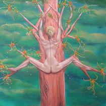 De boomvrouw. Mens en boom, levend vergroeid. Elk op zijn manier genietend van al wat groeit en bloeit.  50/50   € 225