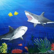 Onderwater; geschilderd voor mijn kleinzoon Michael die gefascineerd is van haaien