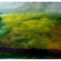 Lavendel und Raps. Moen, Aquarell ca. 38x48 cm