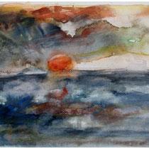 Atlantik Sunset, Aquarell 40x60 cm
