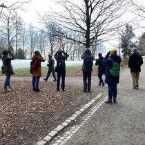 «Ausfliegen mit Gimpel», Frühmorgens im Rieterpark, Mörz 2021
