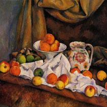 """""""Nature morte"""", Paul Cézanne, 1892-94, huile sur toile, 72,5 x 91,8 cm, Fondation Barnes, Pennsylvanie, Wilimédias Commons"""