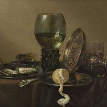 """""""Nature morte avec des huîtres, un rummer, un citron et un bol d'argent"""", Willem Claeszoon Heda, 1634, huile sur panneau, 43 x 57 cm, Musée Boijmans Van Beuningen"""
