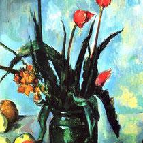 """""""Vase avec des tulipes"""", Paul Cézanne, 1890-1892, huile sur toile, 72.5 × 42 cm, Pasadena, Californie, Wilimédias Commons"""