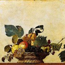 """""""Corbeille de fruits"""", Caravage,  vers 1600, huile sur toile, 46x64.5 cm, Pinacothèque Ambrosienne, Milan, Wikimédia Commons"""