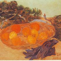 """""""Corbeille de fruits et gants"""", V.Van Gogh, 1889, huile sur toile, 48 x 62 cm, Musée Van Gogh, Pays-bas, Wikimédias Commons"""