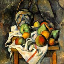 """""""Le vase paillé"""", Paul Cézanne, 1895, huile sur toile, 73 × 60 cm, Fondation Barnès, Pennsylvanie,  Wilimédias Commons"""