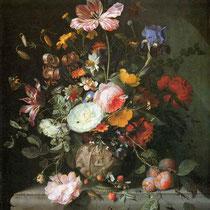 """""""Bouquet de fleurs dans un vase de pierre"""", Jacob van Walscapelle, 1677, huile sur toile, 72 x 58 cm, Musée Stadel, Allemagne, Wikimédia Commons"""