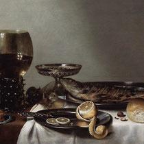 """""""Nature morte avec un Roemer et montre"""", Willem Claeszoon Heda, 1629, huile sur panneau, 46 x 69.2 cm, Cabinet Royal de Peintures, Pays-Bas, Wikimédia Commons"""