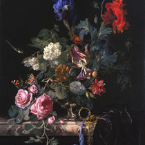 """""""Fleurs dans un vase d'argent"""", Willem van Aelst, 1663, huile sur toile, 67.5 x 54.5 cm, Musée des Beaux-arts de San Francisco, Wikimédia Commons"""