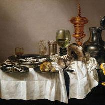 """""""Nature morte au bocal doré"""", Willem Claeszoon Heda, 1635, huile sur panneau, 88 x 113 cm, Rijksmuseum Amsterdam, Wikimédia Commons"""