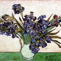 """""""Vase aux iris"""" V.Van Gogh, 1890, Huile sur toile, 73,7 cm × 92,1 cm. Metropolitan Museum of Art, New York. Wikimédias Commons"""