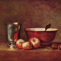 """""""Le gobelet d'argent"""", J.S Chardin, vers 1760-1768, huile sur toile, 33 x 41 cm, Musée du Louvre, Wikimédias Commons"""