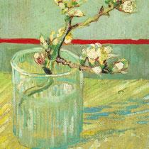 """""""Floraison branche d'amandier dans un verre"""", V. Van Gogh, 1888, huile sur toile, 24 x 19 cm, Musée Van Gogh, Pays-bas, Wikimédias Commons"""