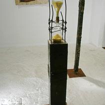 """""""Derrame y Tiempo"""" - cuir, sable, corde, pierre - Martinique 2009 - Fondation Clément"""