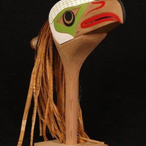 """Eagle Rattle"" Red cedar, Red cedar bark, Acrylic Paint, Copper, Sinew"
