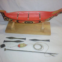 """Sealing Canoe Model"" Red cedar, Yellow cedar, Acrylic Paint, Sinew"