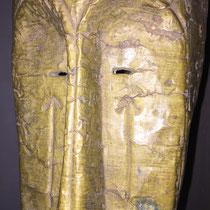 MASQUE FANG - GABON - BOIS, CUIVRE - 46 CM DE HAUTEUR - 19 CM DE LARGEUR