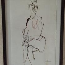 Serge Labegorre - Dessin sur papier - 53 cm x 63 cm (vertical) - Encadrement bois noir sous verre et passe-partout blanc - Oeuvre unique