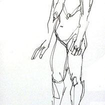 Serge Labegorre - Dessin sur papier N°2 - 30 cm x 40 cm (vertical) - Encadrement bois noir sous verre et passe-partout blanc - Oeuvre unique