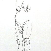 Serge Labegorre - Dessin sur papier - 30 cm x 40 cm (vertical) - Encadrement bois noir sous verre et passe-partout blanc - Oeuvre unique