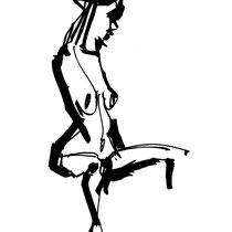 Serge Labegorre - Dessin sur papier N°10 - 53 cm x 63 cm (vertical) - Encadrement bois noir sous verre et passe-partout blanc - Oeuvre unique
