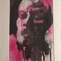 Serge Labegorre - Dessin sur papier - 33 cm x 43 cm (vertical) - Encadrement bois clair sous verre et passe-partout blanc - Oeuvre unique