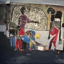 Joël Mpah Dooh - Nous sommes tous des artistes - 79 x 75 cm - Année 2014 - Acrylique sur toile - Prix sur demande