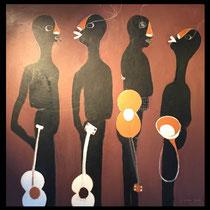 Joël Mpah Dooh - Sweet Big Band - 143 x 142 cm - Année 2010 - Acrylique sur toile - Encadrement baguette noire plate - Prix sur demande