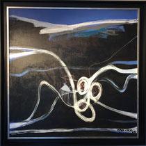 Joël Mpah Dooh - Swing - 100 x 100 cm - Année 2008 - Acrylique sur toile - Encadrement caisse américaine noire - Prix sur demande
