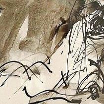 Serge Labegorre - Dessin sur papier - 41 cm x 21 cm (horizontal) - Encadrement bois noir sous verre et passe-partout brun - Oeuvre unique