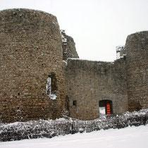 Le château de Lastours sous la neige - Janvier 2006