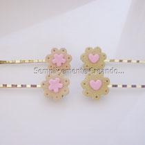Forcine con biscottino in fimo (cm 6,5) tonalità rosa