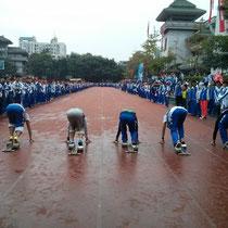 Eins der vielen Wettbewerbe: 100 m Sprint...